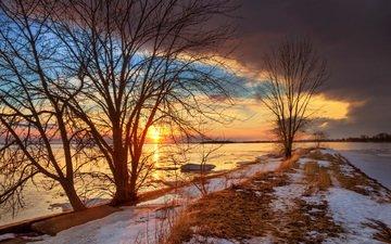 trees, river, nature, sunset, winter, landscape, viktor elizarov