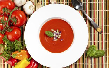 greens, vegetables, tomatoes, pepper, garlic, soup, tomato soup