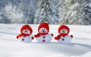 снег, зима, фигурки, снеговики