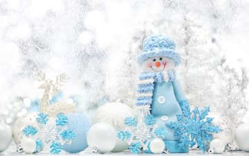 новый год, шары, олень, снежинки, снеговик, рождество, елочные игрушки