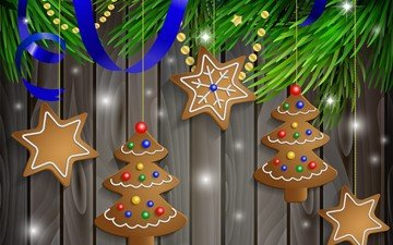 новый год, елка, вектор, рождество, печенье