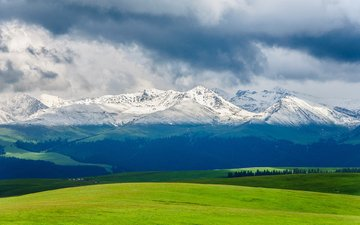 the sky, clouds, mountains, nature, landscape, field, snowy peaks
