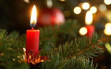 новый год, елка, хвоя, ветки, свеча, рождество