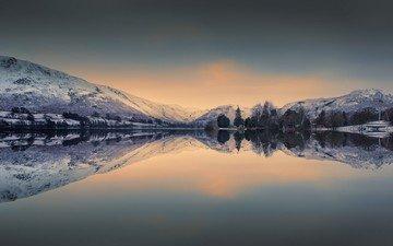 озеро, горы, природа, отражение, пейзаж