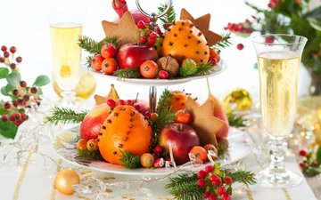 new year, nuts, fruit, apples, oranges, champagne, cookies