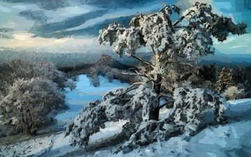 art, trees, snow, nature, winter, landscape, painting