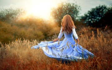 girl, mood, dress, field, hair, walk
