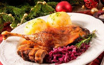 новый год, мясо, рождество, курица, гарнир