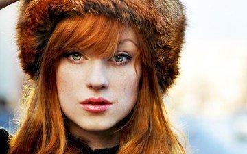 портрет, рыжая, модель, лицо, шапка, мех, веснушки, длинные волосы, алина коваленко