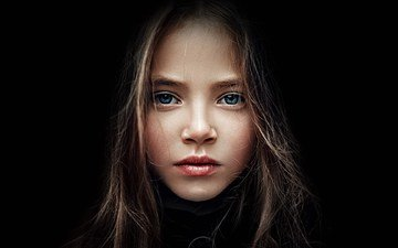 portrait, look, girl, model, hair, black background, face, kristina pimenova