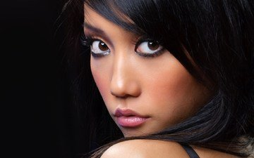 eyes, girl, look, hair, black background, face, asian