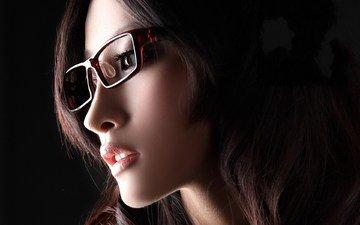 girl, look, glasses, profile, hair, face, asian