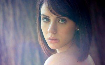 девушка, взгляд, модель, волосы, лицо, anna cash