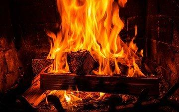 flame, fire, fireplace, wood