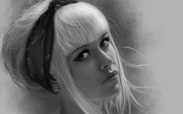 глаза, украшения, девушка, взгляд, чёрно-белое, волосы, лицо, макияж, стрелки, сёрьги