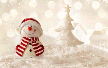 снег, новый год, елка, снеговик, рождество