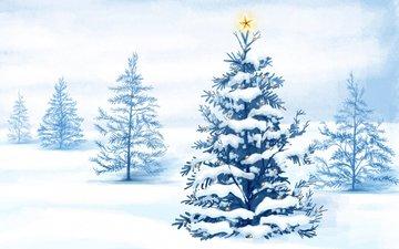 деревья, снег, новый год, елка, вектор, звезда, рождество, гирлянда