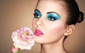 девушка, цветок, портрет, роза, взгляд, волосы, губы, лицо, макияж