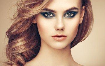 девушка, портрет, взгляд, модель, волосы, губы, лицо, макияж