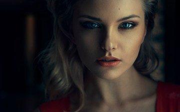девушка, портрет, взгляд, модель, волосы, губы, лицо, голубоглазая