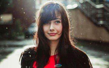 девушка, улыбка, портрет, взгляд, дождь, волосы, лицо, anna mishlen