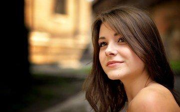 глаза, девушка, улыбка, портрет, модель, лицо, длинные волосы, дана кареглазая
