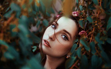 eyes, flowers, leaves, girl, portrait, branches, look, model, hair, face, photoshoot