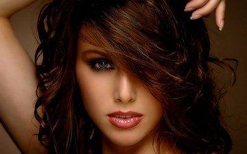 глаза, девушка, портрет, взгляд, модель, волосы, лицо, губки, шатенка