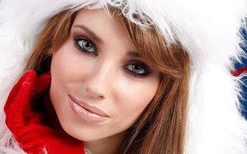 девушка, улыбка, портрет, взгляд, модель, волосы, лицо, шапка, перчатки, izabela magier