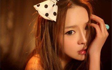 girl, portrait, look, hair, lips, face, asian