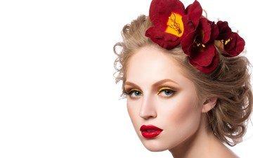 цветы, девушка, фон, лепестки, модель, волосы, макияж, прическа, ресницы