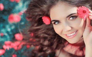 flowers, girl, smile, look, model, hair, face, brown hair