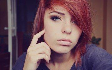 глаза, девушка, портрет, рыжая, модель, лицо, пирсинг, лана браништи