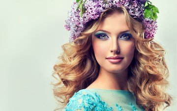 flowers, style, girl, background, portrait, look, hair, face, curls, wreath, lilac, liz