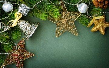 новый год, звезды, колокольчики, рождество, елочные украшения