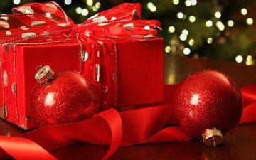 новый год, шары, подарок, рождество, елочные игрушки