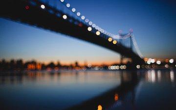 night, lights, bridge, usa, new york, bokeh, matt ellis
