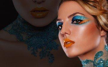 стиль, девушка, фон, портрет, модель, губы, лицо, макияж, тени, ресницы