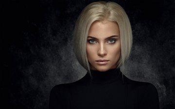 девушка, блондинка, портрет, взгляд, волосы, лицо, в чёрном, mindaugas navickas, rasa ratkeviciute