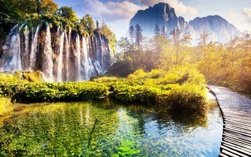 горы, природа, мостик, пейзаж, водопады, плитвицкие озёра, плитвице