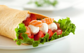 greens, cheese, tomatoes, appetizer, pita, salmon