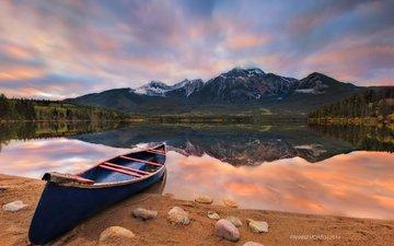 озеро, горы, природа, пейзаж, лодка