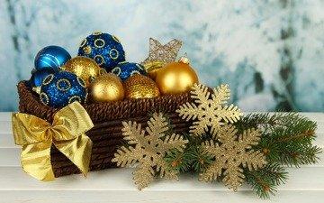 новый год, снежинки, корзина, рождество, елочные игрушки