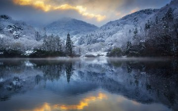 trees, lake, mountains, nature, winter, reflection