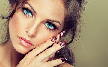 девушка, взгляд, модель, волосы, лицо, макияж, маникюр