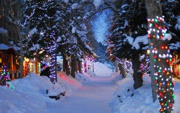 деревья, зима, домики, деревня, городок, гирлянды, рождество, огоньки