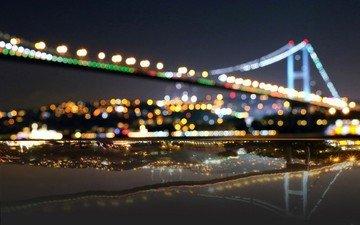 огни, мост, турция, боке, стамбул, станбул