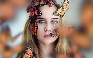 девушка, настроение, блондинка, взгляд, ситуация, насекомые, лицо, бабочки, голубые глаза, боке
