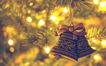 новый год, елка, колокольчики, рождество