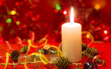 новый год, свеча, рождество, шишки
